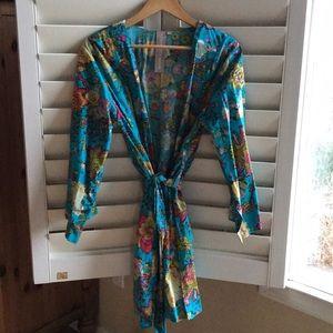 Floral cotton bathrobe